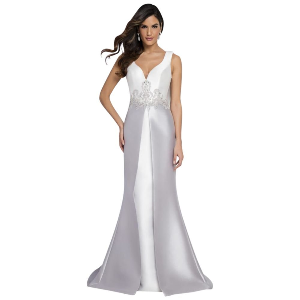 cd9f6a55407 Lace-Topped Mikado Ball Mother of Bride Groom Gown with Cowl Back Style.  White at Amazon Women s Clothing store