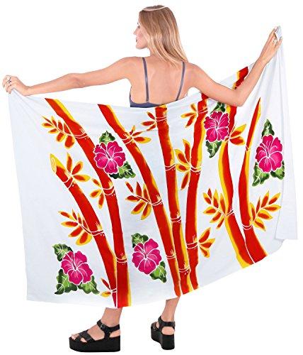beachwear del bañador envoltura de la falda pareo de encubrimiento para mujer de la piscina pareo desgaste traje de baño ropa de playa blanco naranja