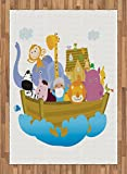 Ark Area Rug by Ambesonne, Religious Story the Ark with Set of Animals in the Boat Journey Faith Cartoon, Flat Woven Accent Rug for Living Room Bedroom Dining Room, 5.2 x 7.5 FT, Multicolor
