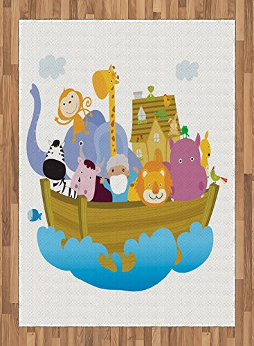 Ark Area Rug by Ambesonne, Religious Story the Ark with Set of Animals in the Boat Journey Faith Cartoon, Flat Woven Accent Rug for Living Room Bedroom Dining Room, 5.2 x 7.5 FT, Multicolor by Ambesonne