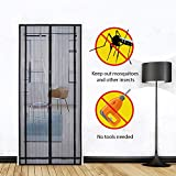 """Sekey Magnetic Screen Door with Heavy Duty Polyester Mesh Curtain, Fits Door Size up to 39""""X 86"""" Max, Black"""