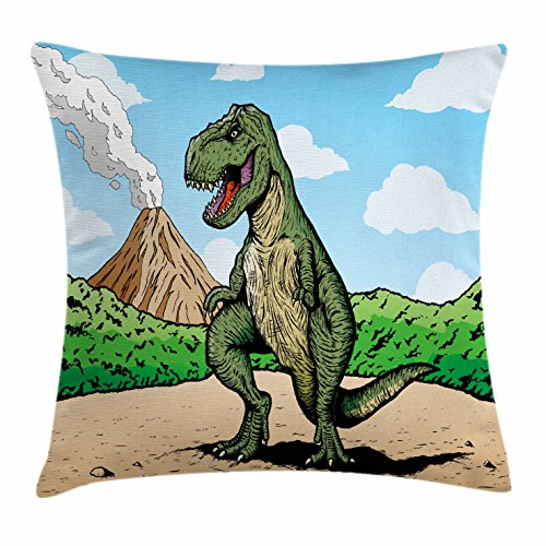 Ambesonne Dinosaur Throw Pillow Cushion Cover, Giant Lizard T-Rex on Active Volcano Untouched Jungle Backdrop, Decorative Square Accent Pillow Case, 18 X 18 Inches, Green Light Brown Light Blue (Deck Lizard Light)