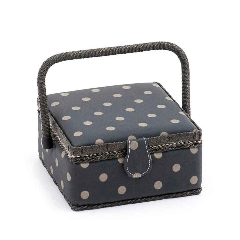 HobbyGift Value Collection: scatola da cucito (S): quadrato: PVC: antracite opaco a pois, in misto cotone, assortiti, 20 x 20 x 11 cm 20x 20x 11cm Groves MRS\263