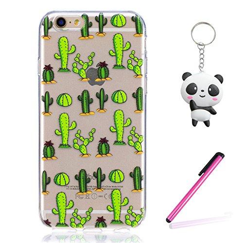 iPhone 6 6S Hülle Grüner Kaktus Premium Handy Tasche Schutz Transparent Schale Für Apple iPhone 6 6S + Zwei Geschenk