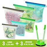 Silicone Bags Reusable Silicone Bag Food Storage | Reusable Sandwich Bags Silicone Ziplock Bags BPA FREE Food Preservation Bag Silicone Containers Leakproof for Lunch Vergetable Liquid Fruit Meat