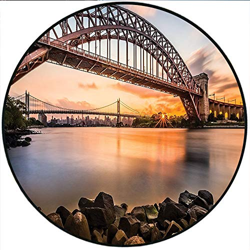 Short Plush Round Rug Sunset Evening View Picture of Hell Gate and Triboro Bridge Astoria Queens New York Brown Blue Living Room Coffee Table 35.4