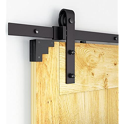 DIYHD 8ft Rustic Black Bent Straight Sliding Barn Wood Closet Door Interior Door  Sliding Track Hardware Kit