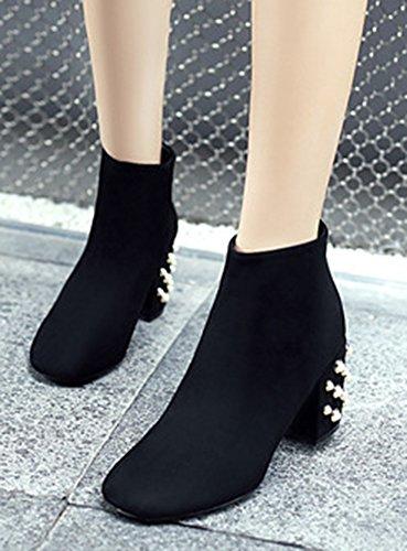 Aisun Noir Boots Bijoux Chaud Femme Bottines Mode Low 1wqr1z