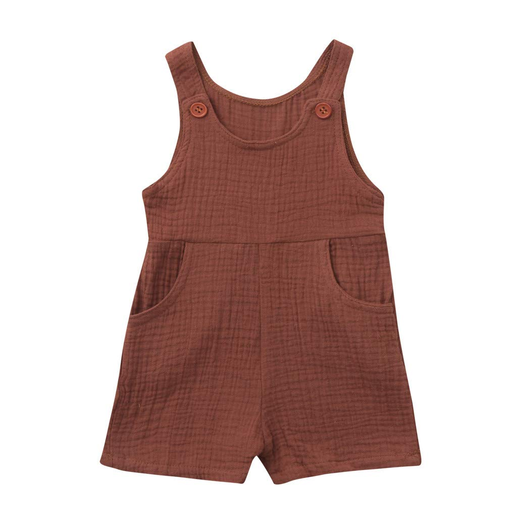 Toddler Baby Boys Girls Sleeveless Strap Romper Jumpsuits Plain Color Soft Breathable Pocket Bodysuits (Coffee, 12-18M)