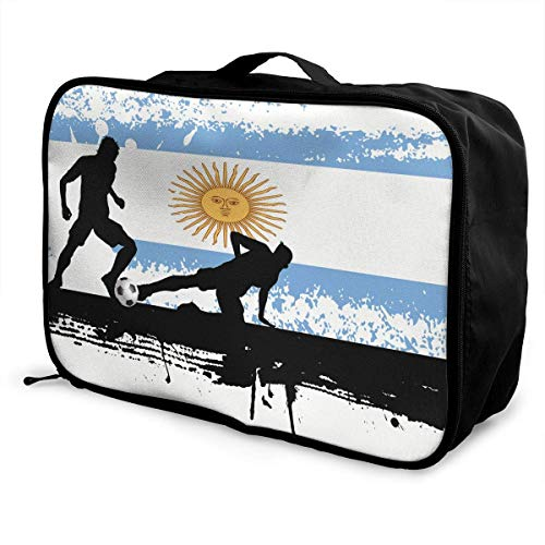 Portable Luggage Duffel Bag Argentina Football Soccer Travel Bags Carry-on In Trolley Handle