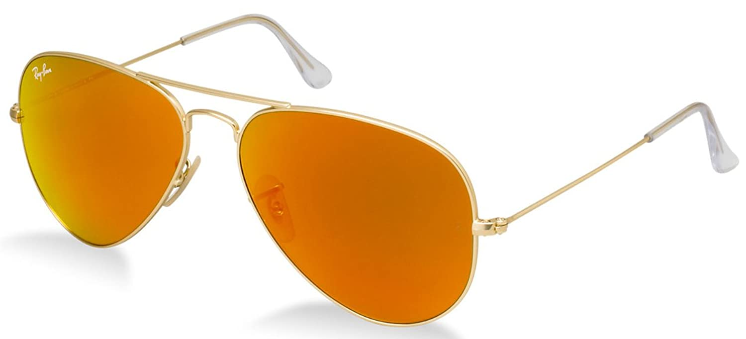 ray ban aviator sunglasses fire orange gold mirror  amazon: ray ban rb3025 aviator sunglasses matte gold/orange mirror (112/69) rb 3025 55mm: shoes