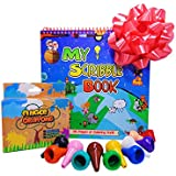 Fiecáre Toddler Finger Crayons, My First Washable Palm Grip Crayons - 12 Baby Paint Sticks, Non Toxic, Stackable Toy Crayons for Kids, Children, Toddlers, Boys, Girls - Includes 75 Page Coloring Book