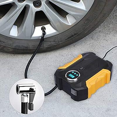 Digital Air Compressor for Car Auto Pump Portable Tire Inflator with LED Light DC 12V: Automotive