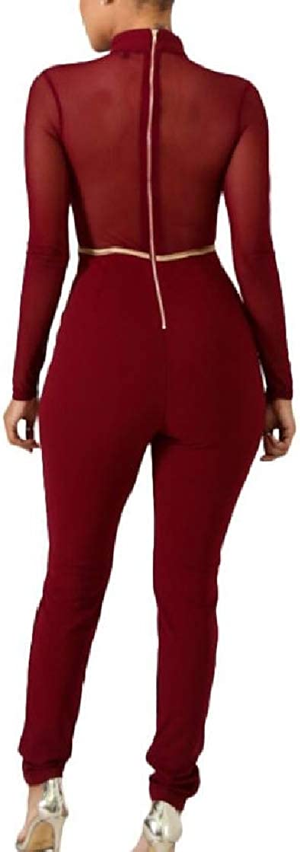 Macondoo Women Stretch Mesh Comfortable Stitch Zip Lace Up Bodysuit Jumpsuits