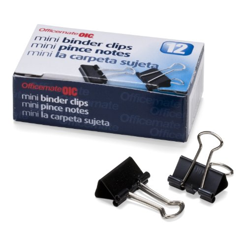 Officemate OIC Mini Binder Clips, Black, 144 Pack (12 Boxes of 1 Dozen Each) (99010)
