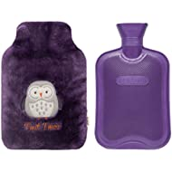2 Liters Classic Rubber Hot Water Bottle & Luxurious Cozy Faux Fur Cover Set (Purple Owl/Purple Bottle)