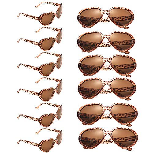 12 Pack Wholesales Heart Shape Design Neon Colors Cute Love Sunglasses for Birthday, Bachelorette, Sunmmer Vacation Parties 100% UV Protection Eyewear for Women and Girls (leopard)