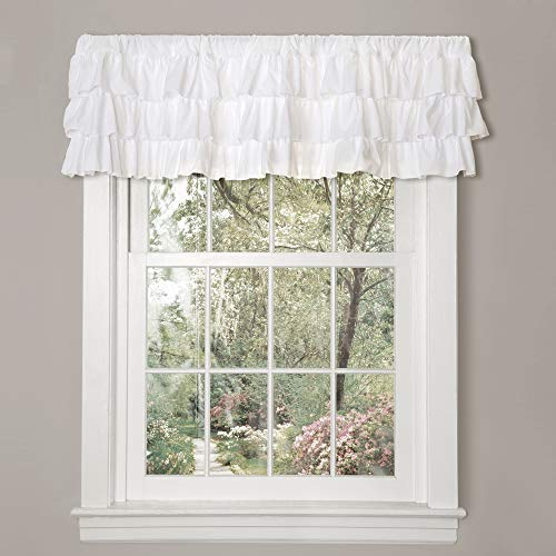 Lush Decor, White Belle Valance Shabby Chic Style Single Curtain, 18