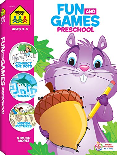 School Zone - Fun and Games Preschool Activity Workbook - 320 Pages, Ages 3 and Up, Colors, Shapes, Alphabet, Numbers, and More (School Zone Big Workbook Series)