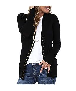RUEWEY Women Cotton Knitted Long Sleeve Open Front Cardigan Sweater Button Down Outwear Coat (XXL, Black)