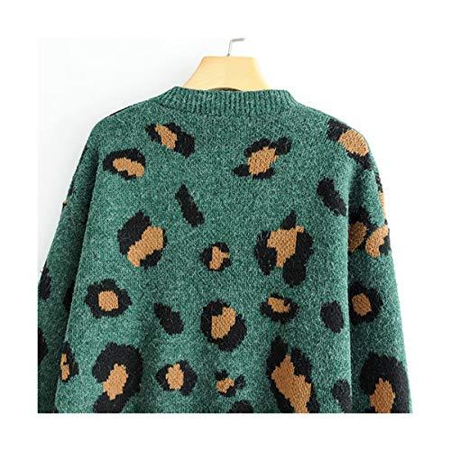 Modello Vintage S Stampa Lunga Collo m O Manica Animale Moda Lavorata Sikesong A Allentato Felpa Pullover Donna Maglia p1dp5Hgqw