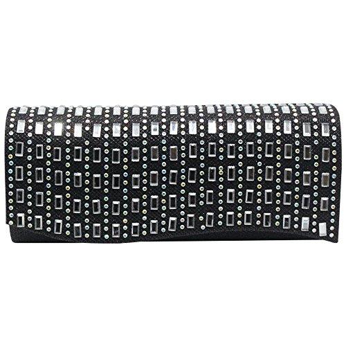 Wiwsi Clutch Purse Rhinestone Handbag Evening Sparkling Bag Frosted Women Lady black wrP6Aqxr0