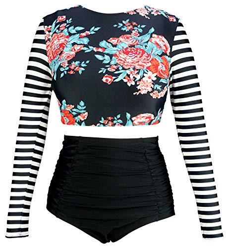 - COCOSHIP Red Pink Floral & Black White Stripe Swimwear Splice Long Sleeve Swim Shirt Rash Guard Top Tankinis High Waist Swimsuit 8