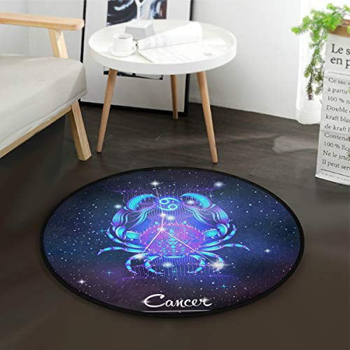 Constellation Zodiac Sign Cancer Round Playmat with Non-Slip Backing Play Mat Diameter -