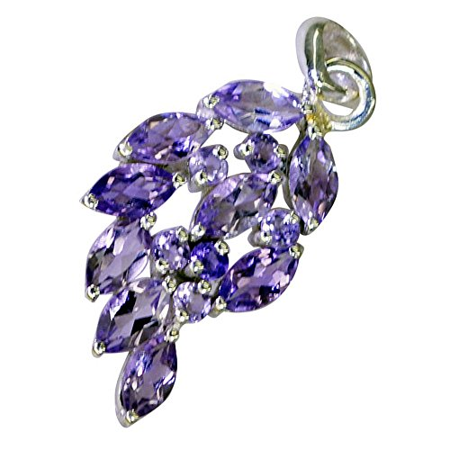 (Jewelryonclick Genuine Amethyst Silver Pendant Birthstone Charm For Women February Marquise Round Shape)