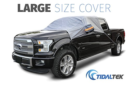 TidalTek Truck & SUV Windshield Snow and Ice Cover - New 2018 Arrival. Ultra-Durable, Premium Weatherproof Design That Protects Windshield, Wipers, and Mirrors - Large Size