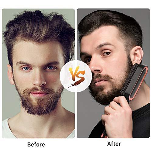 Mennyo Peine Eléctrico para Cabello de Barba para Hombres, Plancha de Barba Caliente, Cepillo Alisador de Barba Pelo Calentar Rápido de 30s y Temperaturas Ajustables, Oro Rosa Negro