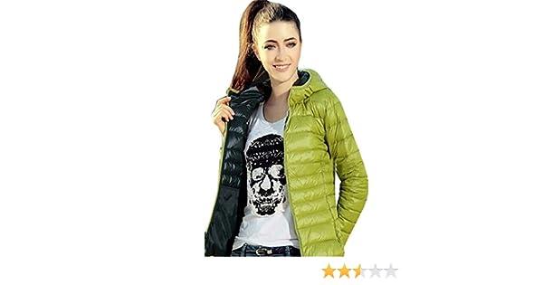 GillBerry Abrigo de Mujer Invierno cálido Color del Caramelo Delgado Slim Down Jacket (XXXL, Verde): Amazon.es: Ropa y accesorios