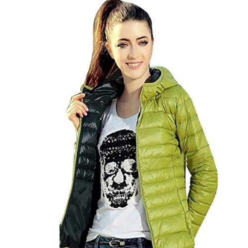 Abrigo de mujer GillBerry Invierno cálido Color del caramelo Delgado Slim Down Jacket Verde