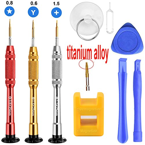 12 Pcs Cell Phone Repair Tool Kit for iPhone Precision Screwdriver Set with Magnetizer/ Demagnetizer Tool & Opening Pry Tools for iPhone X/8/8 Plus, 7/7Plus,6P/6S/6/5S/5/5C/4S/4/SE,iPod,iTouch