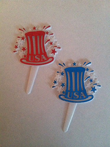 Patriotic Fourth of July USA Uncle Sam Hat Fireworks Decorative Cake Topper Cupcake Picks 12 count