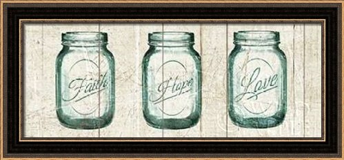 Flea Market Mason Jars Panel I v.2 - Framed Art Print - 8x20 Fine Art Print by Wild Apple Portfolio in Distressed Classic Black Picture Frame - Decorative Vintage