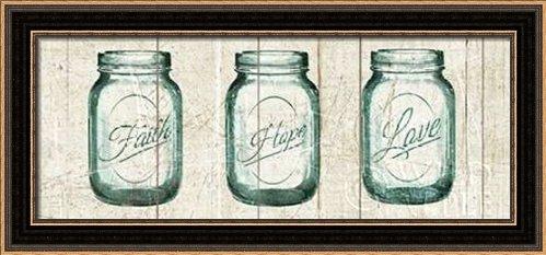 Flea Market Mason Jars Panel I v.2 - Framed Art Print - 8x20 Fine Art Print by Wild Apple Portfolio in Distressed Classic Black Picture Frame - Decorative Vintage