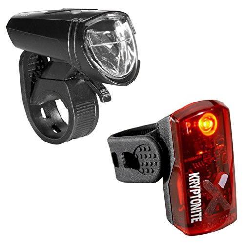 Street Lights Set - Kryptonite Street F-135 Avenue R-14 Front & Rear Set Bright LED 5 Modes USB Rechargeable Bicycle Lights