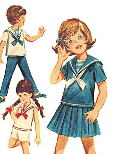 Butterick 2760 Girls' Girls' Nautical Sportswear Middy Top, Skirt, Shorts/Pants Sewing Pattern Size 3 (Breast 22) Sewing Pattern, Vintage ()