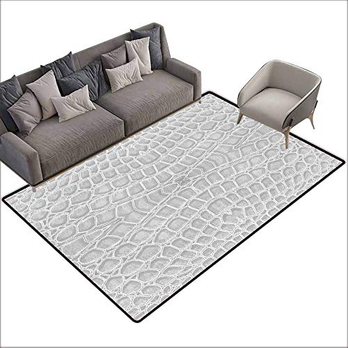 Rug Bathroom Mat Animal Print,Crocodile Leather Pattern in Material Fashion Theme Design Print,Pale Gray 60