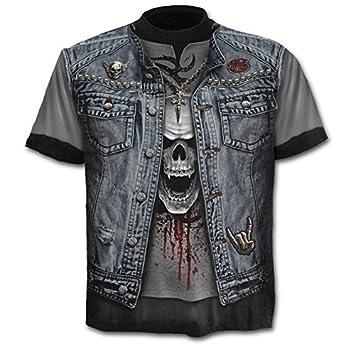 WHLTX T-Shirts L'Impression Numérique 3D Printemps Été Mode Deux Faux Col Rond T-Shirt Skull Imprimer Les Hommes.