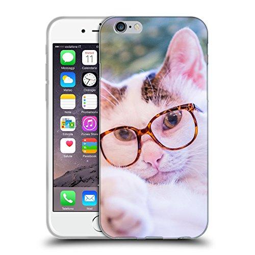 """Just Phone Cases Coque de Protection TPU Silicone Case pour // V00004320 Chat blanc porte des lunettes // Apple iPhone 6 4.7"""""""