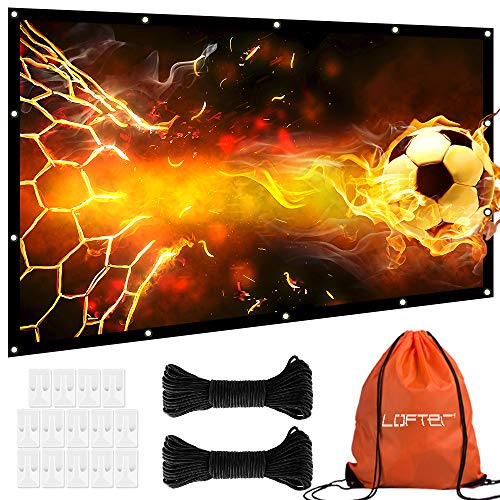 120 inch Projector Screen, Anti-Crease 16:9 Projection Screen, Foldable and Portable Movie Screen with Hooks and Ropes, 1.1 Gain Clear and Bright Image, Perfect for Home Theater Cinema Outdoor Indoor by LOFTER