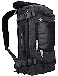 WITZMAN Canvas Travel Rucksack Backpack Duffel Bag Outdoor Hiking Daypack for Men and Women