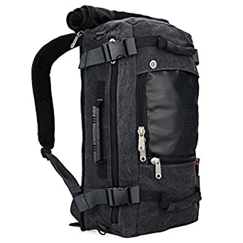 Witzman Canvas Travel Rucksack Backpack Duffel Bag Outdoor Hiking Daypack for Men and Women (21 Inch, 2012 Canvas Black)