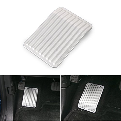 RT-TCZ Aluminum Dead Pedal Anti Slip Covers Left Rest Foot Pedal Pad for 2015-2017 Ford F150(Silver)