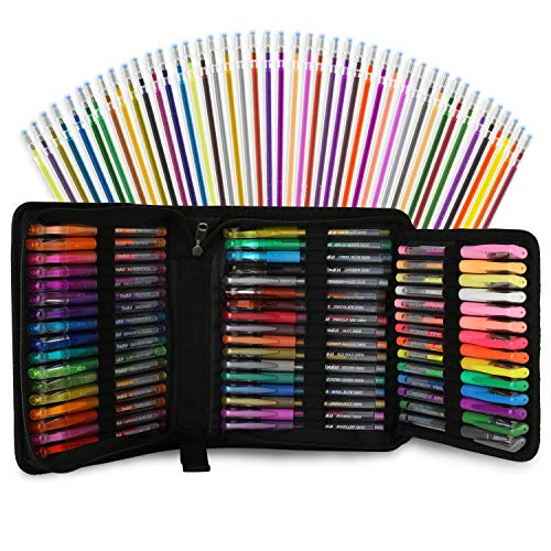 96 Color Artist Gel Pen Set, includes 24 Glitter Gel Pens 12 Metallic, 6 Pastel,6 Neon, plus 48 Matching Color Refills, More Ink Largest Non-Toxic Art Neon Pen for Adults Coloring Books Craft Doodling Drawing