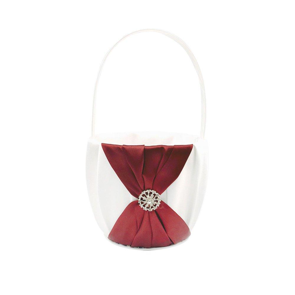 Abbie Home Wedding Flower Basket + Ring Pillow Rhinestone Décor Party Favor Set (Burgundy) by Abbie Home (Image #2)