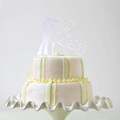Wedding Cake Topper Acrylic Love Heart Shape Mr Mrs Silhouette