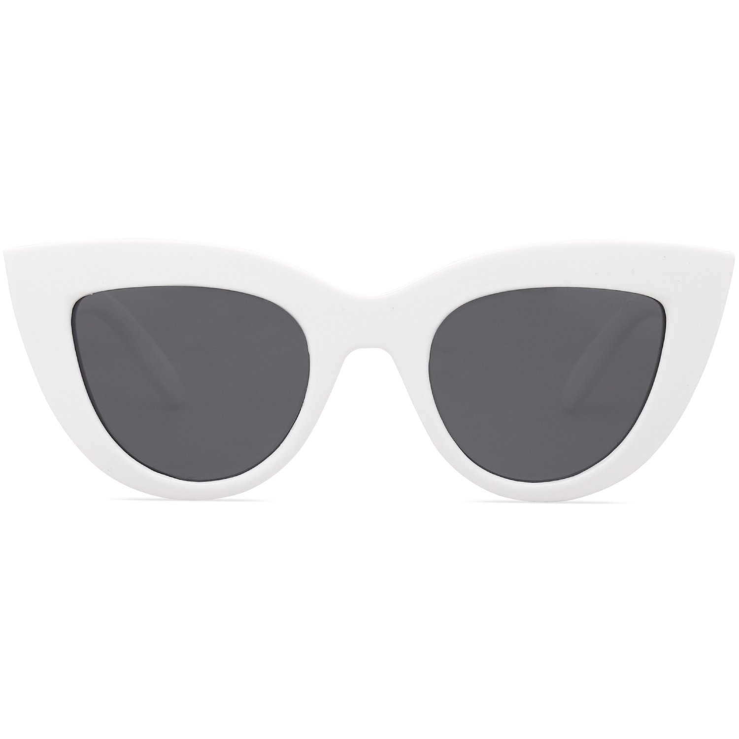 SOJOS Retro Vintage Cateye Sunglasses for Women Plastic Frame Mirrored Lens SJ2939 with White Frame/Grey Lens by SOJOS